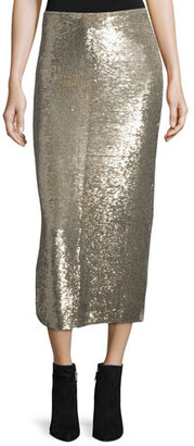 Iro Bump Sequin Midi Skirt, Gold $518 thestylecure.com