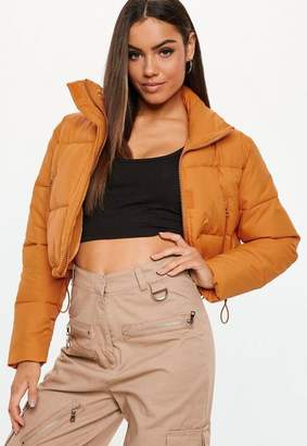 Missguided Orange Crop Oversized Puffer Jacket