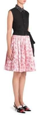 Prada Poplin Belted A-Line Shirtdress
