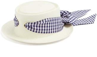 Federica Moretti Gingham-ribbon bow-tie straw hat