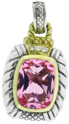 Judith Ripka 18K Gold And Silver Diamond & Pink Crystal Large Enhancer Pendant