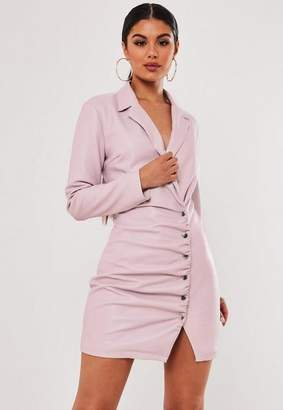 Missguided Stassie X Lilac Faux Leather Blazer Dress