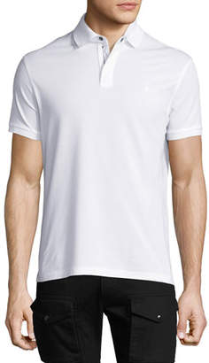 Ralph Lauren Front-Zip Pique Polo Shirt, White