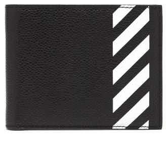 Off-White Off White Stripe Print Bi Fold Leather Wallet - Mens - Black White