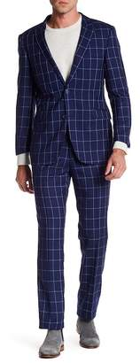 English Laundry Notch Lapel Trim Fit Windowpane 2-Piece Suit