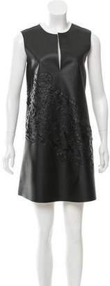 Josie Natori Vegan Leather Laser Cut Dress