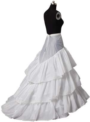 Snowskite Womens 2 Hoops Train Wedding Dress Bridal Gown Petticoat