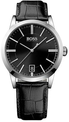 BOSS Men's Success Croc Embossed Leather Strap Watch, 42mm