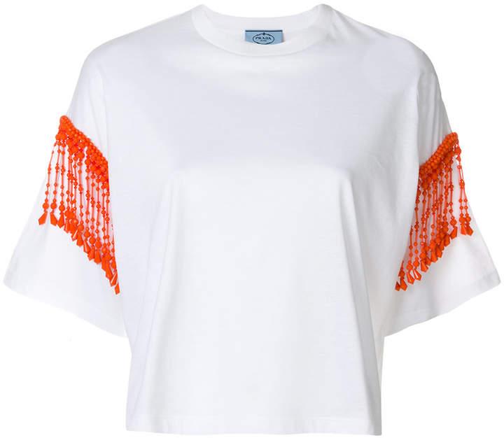 Prada bead trim cropped T-shirt