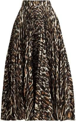 Calvin Klein Leopard-print pleated twill midi skirt
