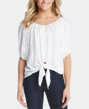 Karen Kane Embroidered Tie-Front Blouson Top