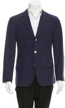 Brunello Cucinelli Suede-Accented Three-Button Blazer