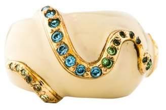 Versace Crystal & Enamel Snake Ring