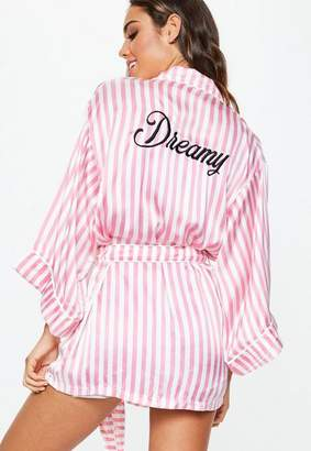 Missguided Pink Dreamy Striped Satin Robe