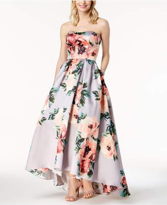 Betsy & Adam Floral-Print Strapless Ballgown