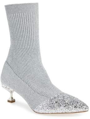 Miu Miu Embellished Metallic Sock Bootie