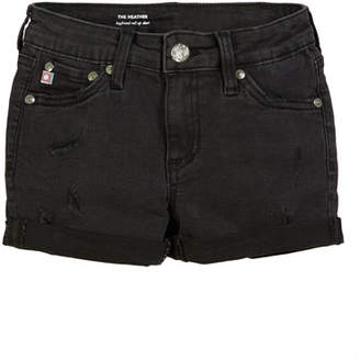 AG Jeans Heather Distressed Rolled-Cuff Shorts, Size 7-14