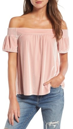 Women's Hinge Off The Shoulder Velvet Top $69 thestylecure.com