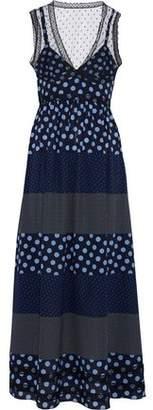 RED Valentino Point D'esprit-Paneled Polka-Dot Silk Crepe De Chine Maxi Dress