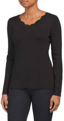 Scalloped V-neck Metallic Pullover Sweater