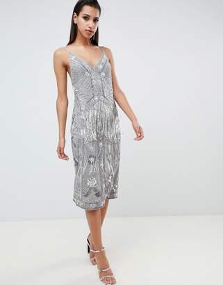 Asos Edition EDITION fringe embellished midi slip dress
