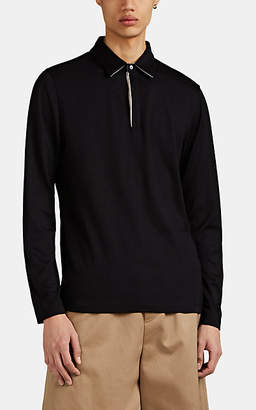 Theory Men's Silk-Cotton Long-Sleeve Polo Shirt - Black