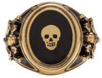 Alexander McQueen Gold Enamel Signet Ring