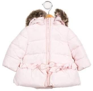 Tartine et Chocolat Girls' Hooded Faux Fur-Trimmed Jacket
