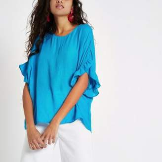 River Island Womens Bright blue frill sleeve T-shirt