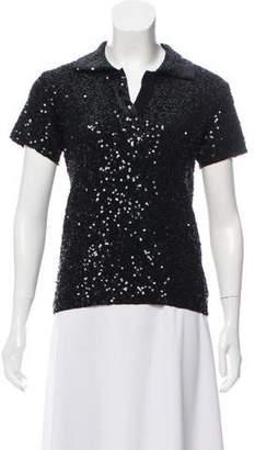 Ellen Tracy Linda Allard Merino Wool Sequin Top