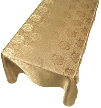 """Carnation Home Fashions Rose Damask"""" 60""""x108"""" Fabric Tablecloth in Gold"""
