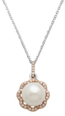 Lord & Taylor Sterling Silver Necklace with 14Kt. Rose Gold Pearl and Diamond Pendant