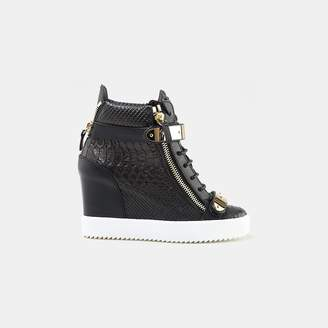 Giuseppe Zanotti Jennifer Embossed Leather Double Zip Wedge Sneaker