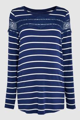 Next Womens Navy/White Maternity Long Sleeve Stripe Tee