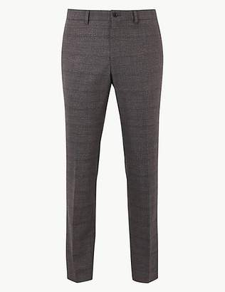 Skinny Fit Checked Flat Front Trousers