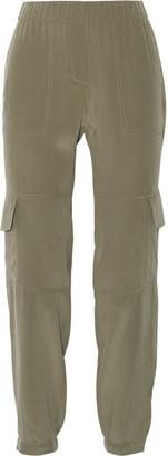 Theory - Hamtana Silk Crepe De Chine Straight-leg Pants - Army green $285 thestylecure.com