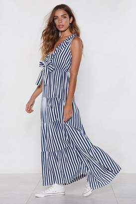 Nasty Gal Bow a Long Way Striped Dress