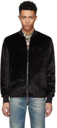 Versace Black Chenile Zip-Up Bomber Jacket