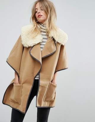 ASOS Cape With Borg Faux Fur Collar $38 thestylecure.com