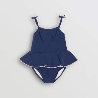 Burberry Check Detail Peplum One-piece Swimsuit