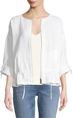 Eileen Fisher Heavy Linen Short Drawstring Jacket, Petite