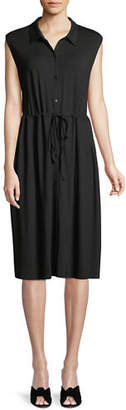 Eileen Fisher Sleeveless Lightweight Viscose Jersey Drawstring-Waist Shirtdress