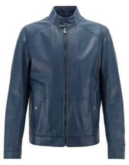 BOSS Hugo Regular-fit blouson jacket in nappa lambskin 46R Open Blue