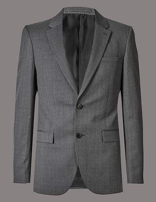 Marks and Spencer Grey Tailored Fit Italian Wool Jacket