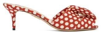 Charlotte Olympia Bow Polka Dot Kitten Heel Mules - Womens - Red Multi