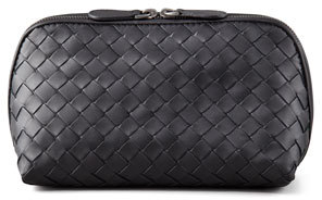 Bottega Veneta Bottega Veneta Woven Leather Medium Cosmetic Case, Black