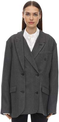 Rokh OVERSIZE LAYERED WOOL BLEND BLAZER