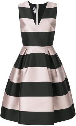 Rochas striped printed flared dress