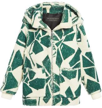 Burberry Floral Print Cashmere-silk Fleece Zipped Hoodie