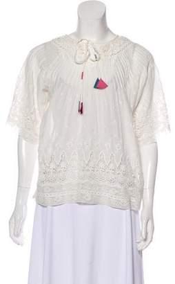 LoveShackFancy Embroidered Short Sleeve Top